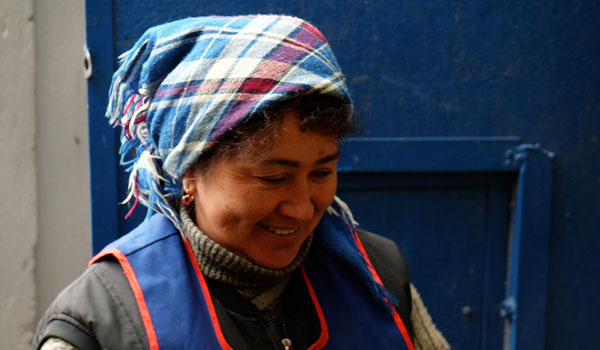 At the market, a woman from Kazakhstan.