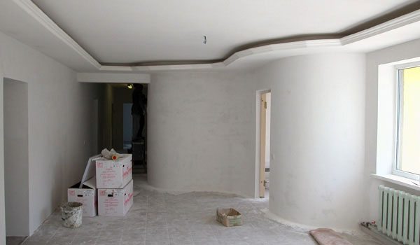 The interior of a house during the works.