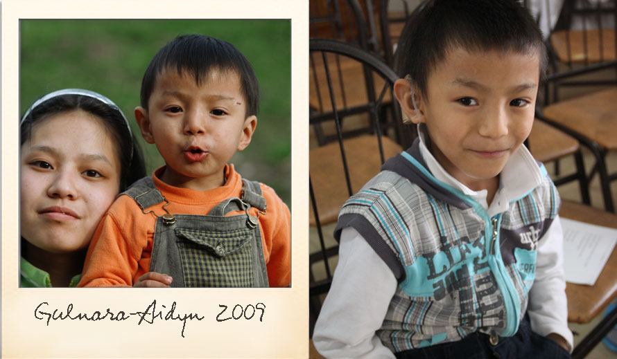 Aidyn at the Ark Village in 2009 and in 2014