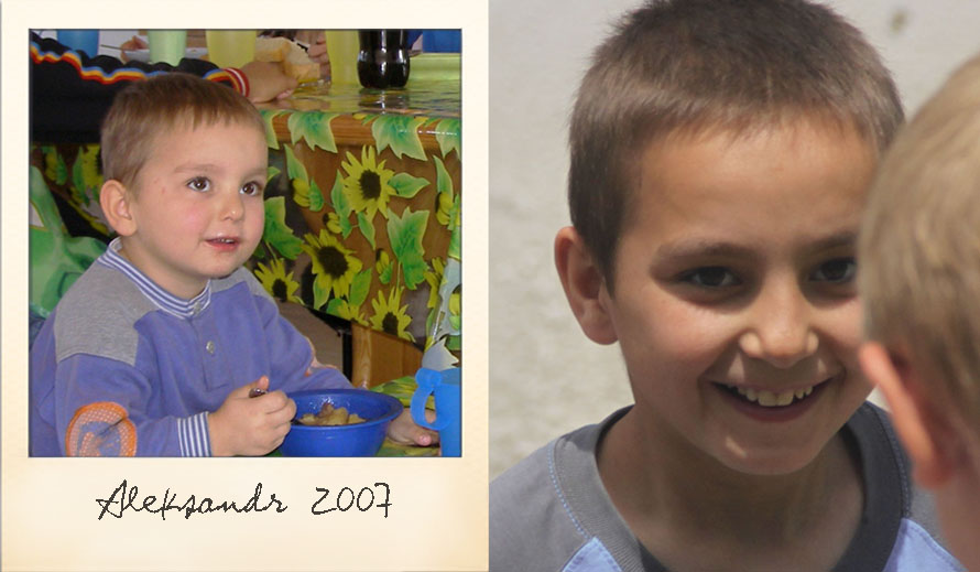 Aleksandr at the Ark Village in 2007 and in 2014