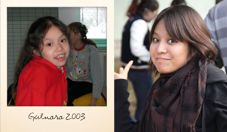 Gulnara at the Ark Village in 2003 and in 2013