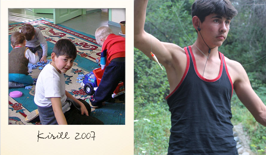Kirill at the Ark Village in 2007 and in 2014