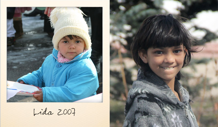 Lida at the Ark Village in 2007 and in 2015