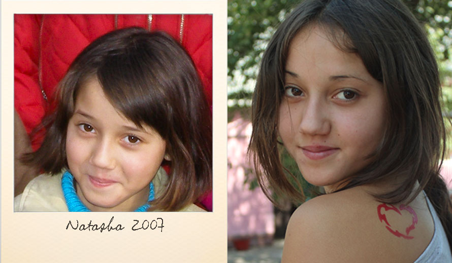 Natasha E. at the Ark Village in 2007 and in 2012