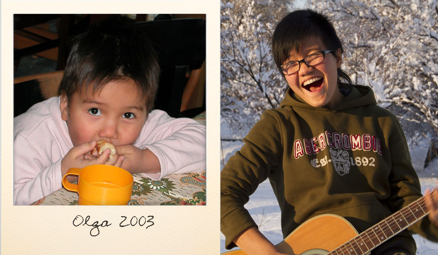Olga at the Ark Village in 2003 and in 2013