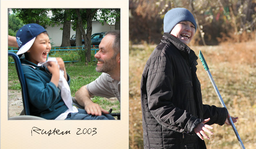 Rustem at the Ark Village in 2003 and in 2013
