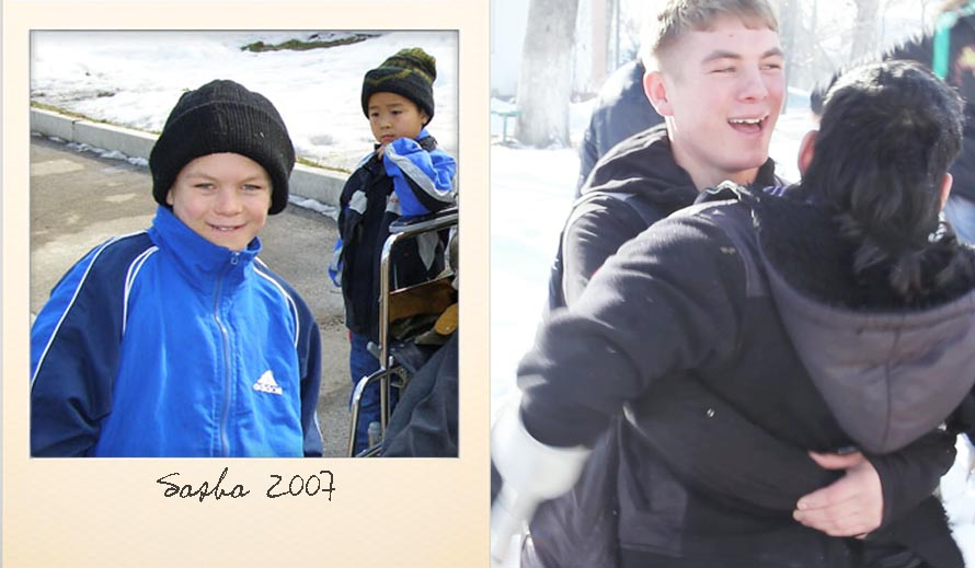 Sasha A. at the Ark Village in 2007 and in 2013